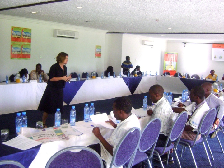 Dr Karin Hatzold of PSI taking journalists through a session